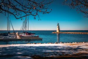 A small harbor and a lighthouse in Oklahoma City