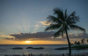 Sunset on a beach in Hawaii