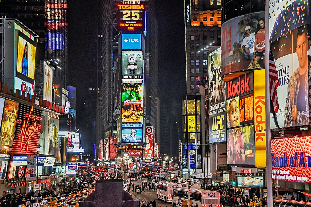Busy streets of New York City at night