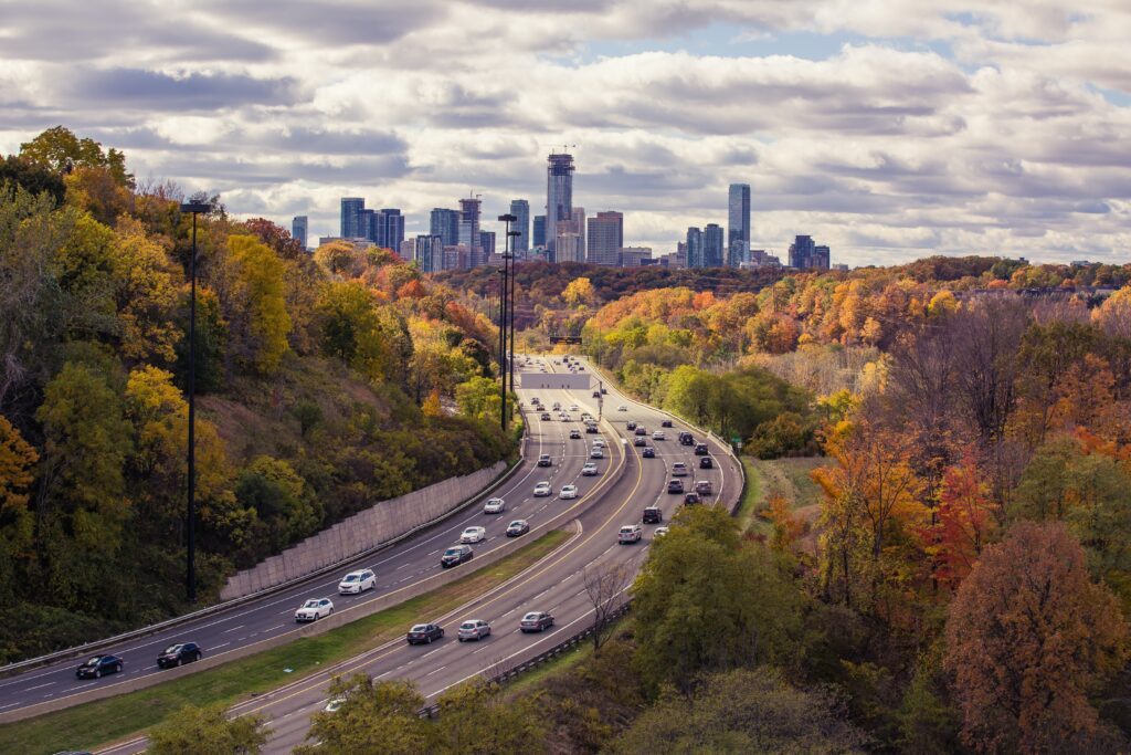 Vehicles moving to and from Toronto